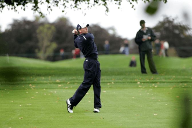 A lad playing golf at Mount Juliet Golf Course